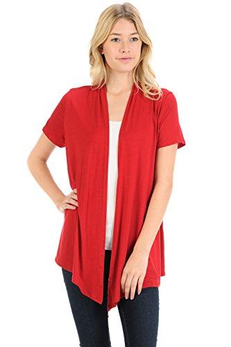 Pastel by Vivienne Women's Short Sleeve Open Front Vest XX-Large Red - Jersey Short Sleeve Sweater