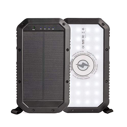 Braxus Solar Power Bank, Portable Solar Charger, 20,000mAh, Qi Wireless Charger and Three USB Ports, External Battery Pack with Three LED flashlights Settings, Water Resistant and Shockproof