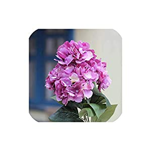 Artificial Flowers Hydrangea Bouquet for Wedding Party Home Decoration Floral 5 Heads Silk Flower Bridal Bouquet Colors Available,Rose 88