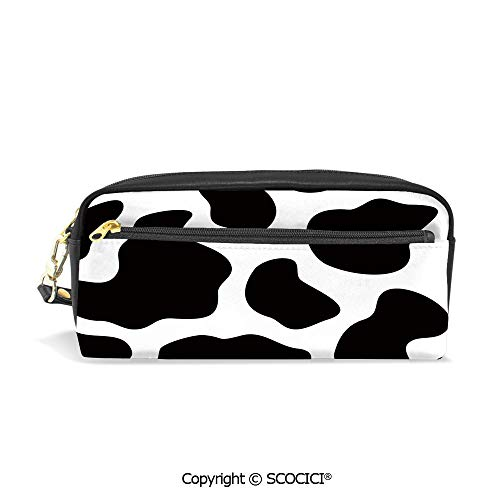 Fasion Pencil Case Big Capacity Pencil Bag Makeup Pen Pouch Hide of a Cow with Black Spots Abstract and Plain Style Barnyard Life Print Decorative Durable Students Stationery Pen Holder - Barnyard Lunch