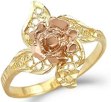 14k gold over Happiness Flower Ring Citrine Diamond Ring diamond Flower Ring diamond engagement ring flower diamond ring Dual Tone Ring