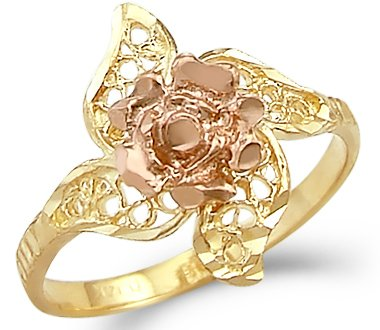 Size- 10.5 - 14k Yellow and Rose Gold Two Tone Flower Leaf Ring New 14k Yellow Gold Leaf