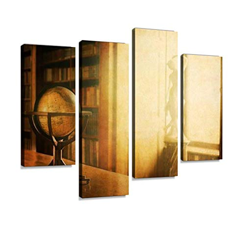 - Vintage Library Photo Canvas Wall Art Painting Pictures Modern Artwork Framed Posters for Living Room Ready to Hang Home Decor 4PANEL