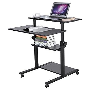 zerone Escritorio para Ordenador Ajustable, Oficina Informática Ruedas Mesa Informática Mueble de Oficina con 4 estantes para Ordenador, Altura Ajustable 71 ...