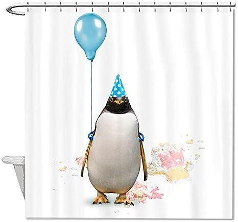 Poliestere #1 Rioengnakg resistente alla muffa tessuto pinguino con un palloncino per tenda da doccia in poliestere impermeabile tenda della doccia 66x72 165x180cm
