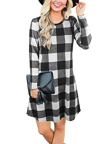 Blooming Jelly Women's Plaid Swing Dress Long Sleeve Round Neck Tunic Mini Dress(XL,Plaid)
