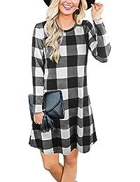 Women's Plaid Swing Dress Long Sleeve Round Neck Tunic Mini Dress