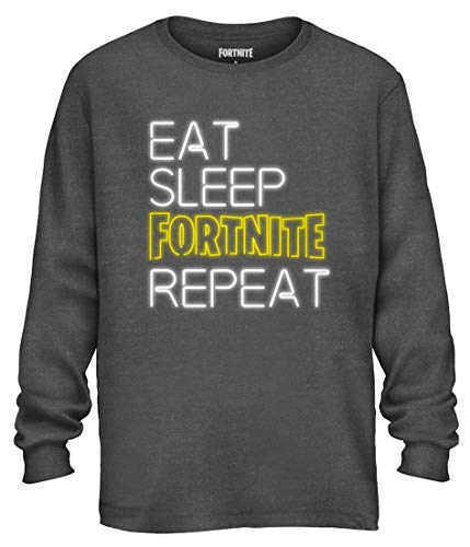 Mad Engine Fortnite Shirt Men's Eat Sleep Repeat Long Sleeve Officially Licensed Adult T-Shirt (X-Large) Heather Charcoal ()