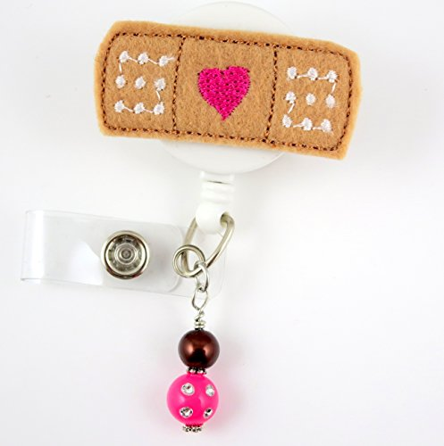Bandaid with Heart Fuchsia - Nurse Badge Reel - Retractable ID Badge Holder - Nurse Badge - Badge Clip - Badge Reels - Pediatric - RN - Name Badge Holder