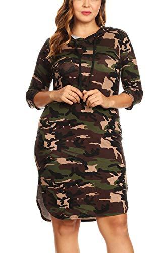 Women's Junior Plus Camo Print Quarter Sleeve Bodycon Hooded Dress Olive 2X