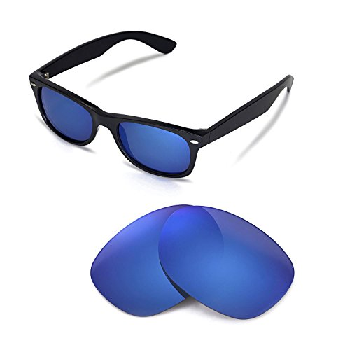 Walleva Replacement Lenses for Ray-Ban Wayfarer RB2132 52mm Sunglasses - Multiple Options Available(Ice Blue - ()