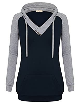 Timeson Women's V-Neck Long Sleeve Casual Color Block Pullover Hoodies Sweatshirt With Kangaroo Pocket
