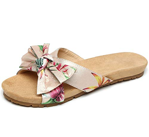 Women's Soft Bottom Slippers Cross Band Home/Beach Sandals for Women (6, pink01)