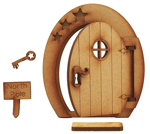 North Pole Opening Fairy Door. Festive Three-Dimensional Opening Fairy Door Wooden Self Assembly Craft Kit with Door Mat, Sign & Key]()