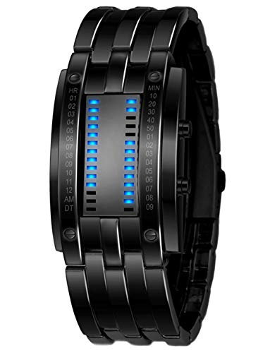 Classic Mens Binary Matrix Blue LED Digital Waterproof Watch Black Plated Stainless Steel Wrist Watches (Black) ()