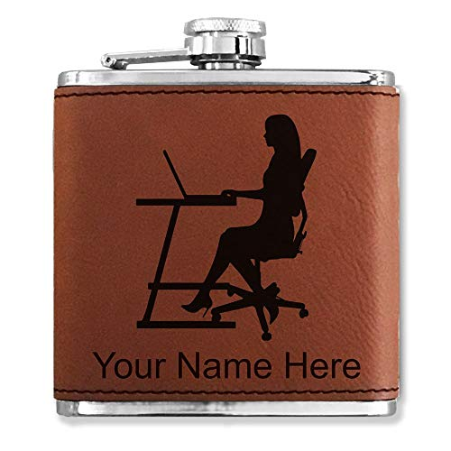 Faux Leather Flask, Secretary, Personalized Engraving Included (Dark Brown)