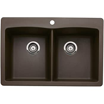 Blanco 440218 Diamond Double Basin Drop In Or Undermount Granite Kitchen  Sink, Cafe