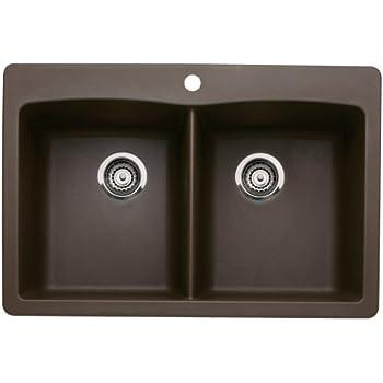 Blanco 440218 Diamond Double-Basin Drop-In or Undermount Granite Kitchen Sink, Cafe Brown