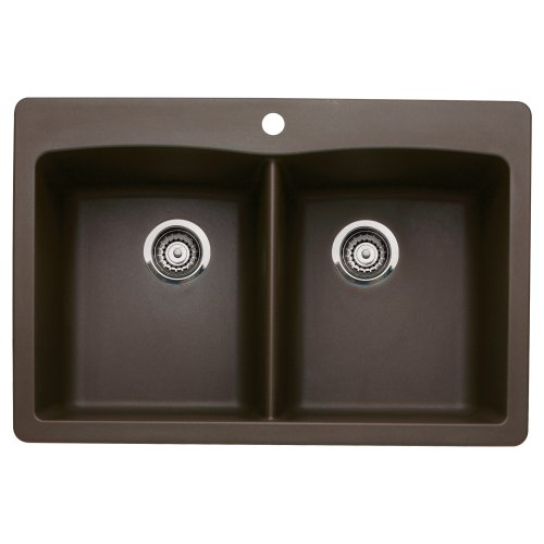 Blanco 440218 Diamond Double-Basin Drop-In or Undermount Granite Kitchen Sink, Cafe Brown (Kitchen Double Basin Sink Undermount)