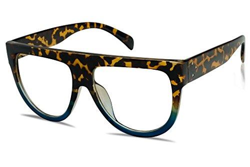 (SunglassUP - Bold Oversize Boyfriend Clear Lens Sun Glasses Designer Flat Top Aviator Shield Shades (Tortoise Blue))