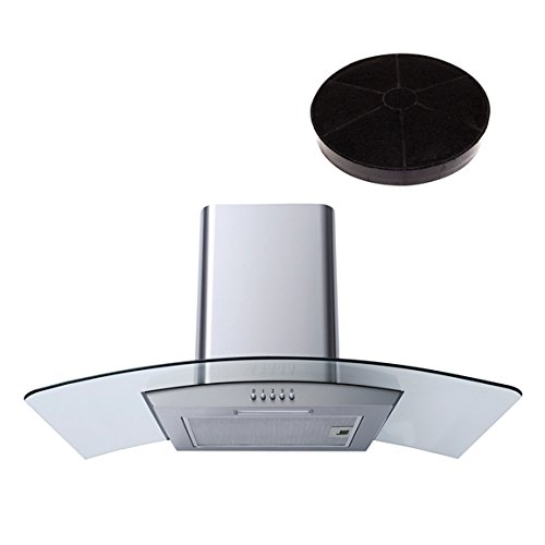 SIA CG81SS Steel 80cm Curved Glass Chimney Cooker Hood Extractor & Carbon Filter