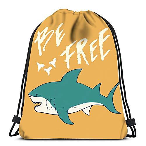 (Randell Gym Drawstring Backpack Sport Bag Shark Sketch Be Bree Lightweight Shoulder Bags Travel College Rucksack for Women Men)