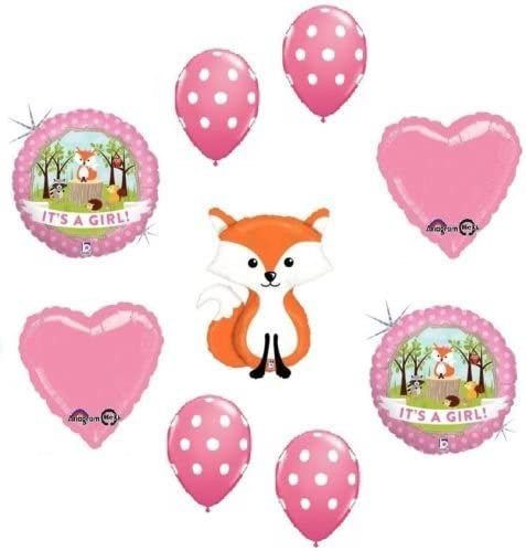 29pc Woodland Creatures It/'s a Baby Girl Animal Balloon Bouquet Party Decoration