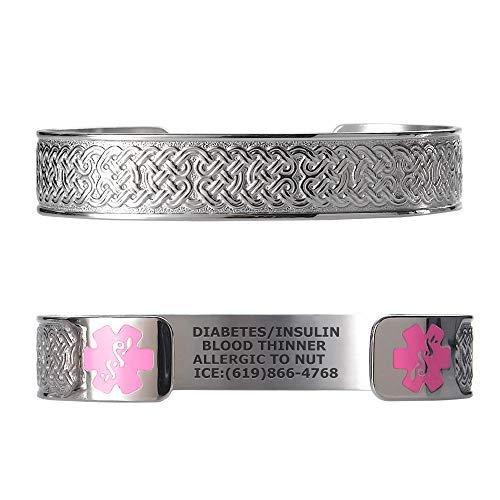 Divoti Custom Engraved Medical Alert Bracelets for Women, Stainless Steel Medical Bracelet, Medical ID Bracelet w/Free Engraving - Celtic Knot w/ 6 Cuff (fits 6.5-8.0)
