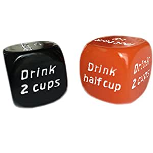 2pc(Orange & Black) 6 Sides Drinking Decider Dice for Die Games Bar Party Pub Dice Fun Funny Toy(2pcs)