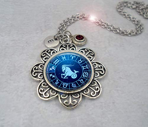 (Capricorn the Sea-Goat Zodiac Necklace with Letter Charm and Swarovski Birthstone Crystal, December Birthday, January Birthday * Hand-crafted with lOve!)