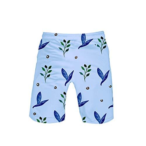 Botrong Man Women Unisex Casual Leaf Print Bandage Elastic Waist Beach Shorts Pants (Blue,L)