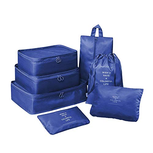 Lonew 7 Set Packing Cubes, Travel Luggage Organizer - Multi-functional Clothing Sorting Packages with Shoe Bag (Dark&Blue)