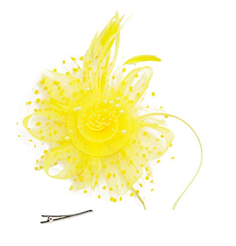 Cizoe Flower Cocktail Tea Party Headwear Feather Fascinators Top Hat for Girls and Women(1-yellow) -