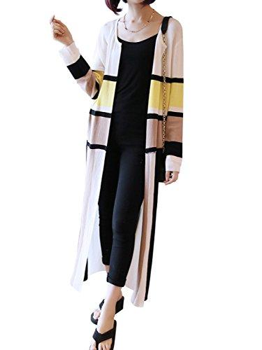 レディース カーディガン ロング丈 ニットガウン 上質 薄手 カーデ ストライプ 長袖 大きいサイズ 紫外線対策