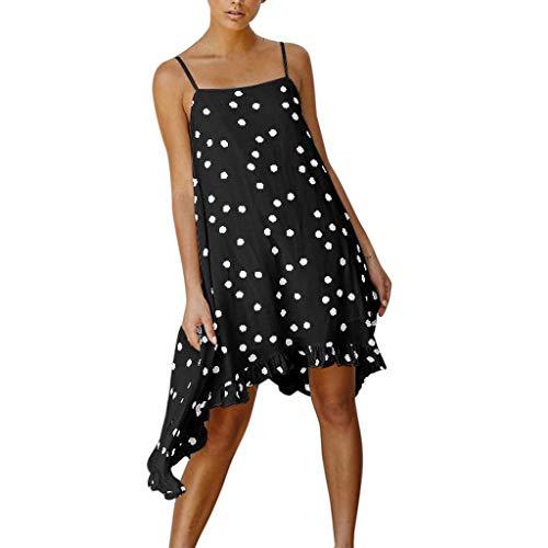 Rakkiss Women Dress Sling Dress Print Dress Irregular Dress Mini Dress Ruffled Shirt Low Collar Shirt Black