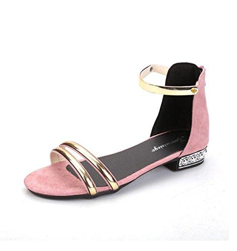 Ronde Confortable Bas GRRONG Avec Sandales Tête pink Femme XHq4HY