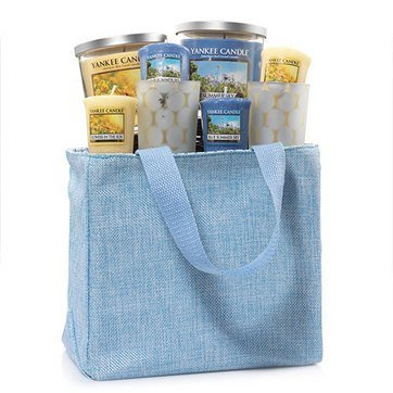 Yankee Candle Blue Summer Sky and Flowers in the Sun 9 Piece Fragrance Filled Jute Tote Gift Set from Yankee Candle