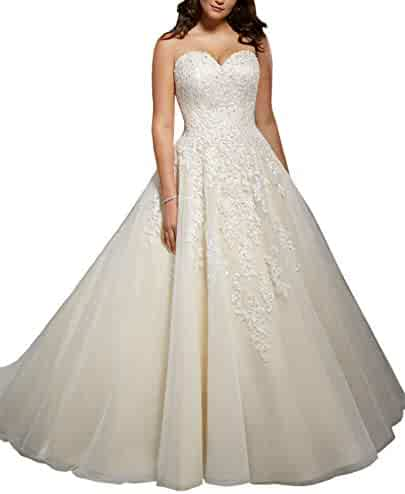 0ff82611efd WHZZ Women s Organza Lace Wedding Dresses Sweetheart Neck Beads Bridal Gown