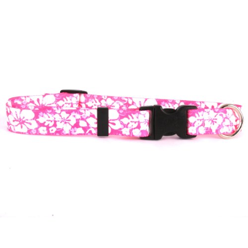 Yellow Dog Design Island Floral Pink Dog Collar Fits Neck 14 To 20