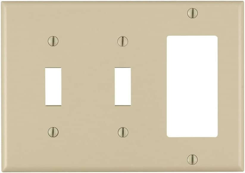 Device Mount Standard Size Brown Thermoset Leviton 80421 3-Gang 2-Toggle 1-Decora//GFCI Device Combination Wallplate