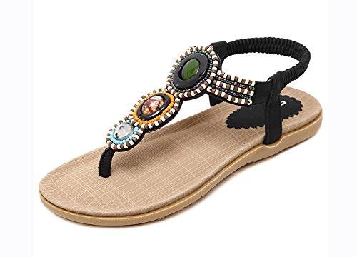 Us8 Los Zapatos Black Uk6 Sandalias Cuentas Eu39 Las De Planas Cn39 Mujeres Upqx8Iqw