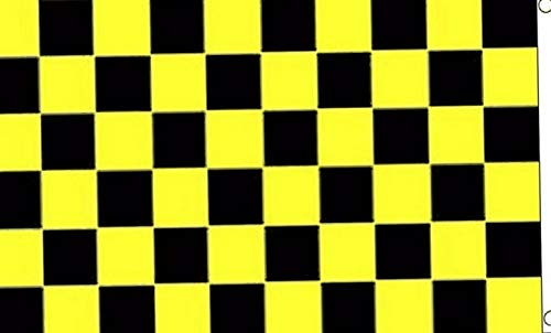 Mikash 3x5 Black and Yellow Checkered Flag Knitted Poly 3x5 House Banner Grommets | Model FLG - 2700