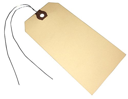 Amram Wired Shipping Tags 4 3/4 Inches X 2 3/8 Inches, 100 Tags, Manila with Reinforced Eyelet.