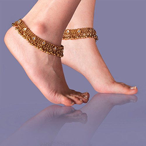 Charms Golden Ethnic Antique Kundan Studded Alloy Anklet by Unknown (Image #5)