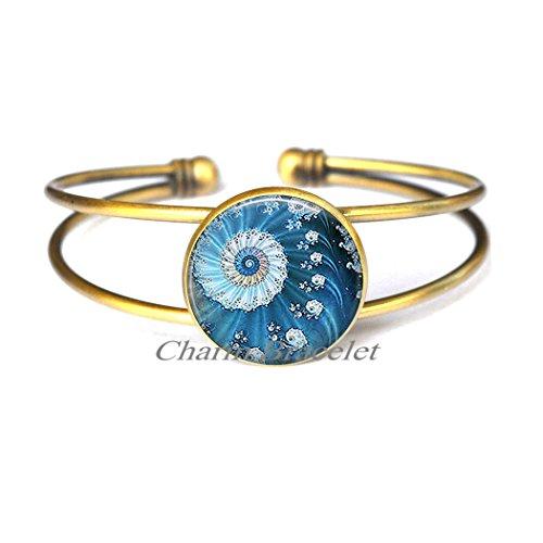 (Charm Bracelet, Blue Ocean Fractal Bracelet, fractal Bracelets, fractal art Bracelet ocean sea Bracelet math Bracelet mathematics gift-ZE240)