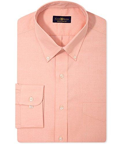 Club Room Mens Wrinkle Resistant LS Button Up Dress Shirt Orange 16 1/2