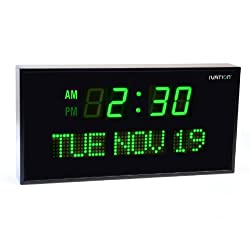 Ivation JID0222GRN Big Oversized Digital GreenLED Calendar Clock with Day and Date (Green)