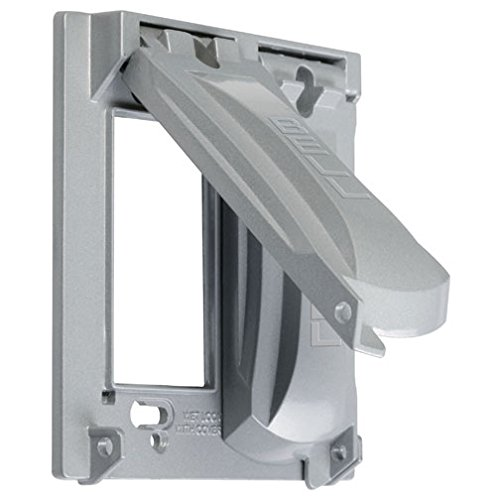 Two Bell - Hubbell-Bell MX2050S Two Gang Two Device Flat Metal Weatherproof Receptacle Cover, Grey
