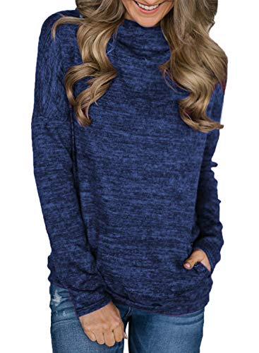(Malaven Women's Pullover Sweatshirts Casual Long Sleeve with Pockets Royal Blue L 12 14)