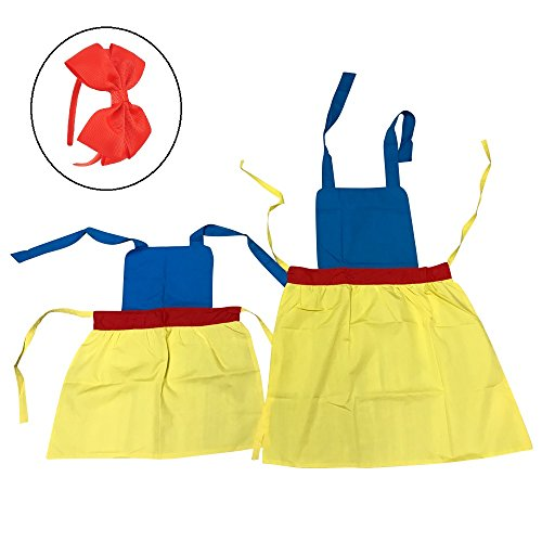 Princess Apron (Cozy&Home Princess Snow White Matching Apron Set for Adult and Child- for Kitchen, Themed Party, Painting, Crafts, Halloween costume (Large & Small, 2T-11) with BONUS ribbon bow headband (snow white))